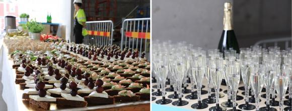 Invigningsfesten bjöd på bubblig Cider och goda snittar.