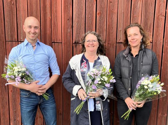 Tre glada nominerade: Rasmus Vanagand, Birgitta Dickson och Ebba Horn
