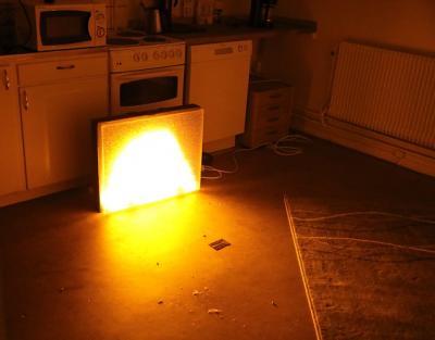 ...och tänder elden. Och då inte en riktig eld utan en fiktiv - en digital släckskärm.