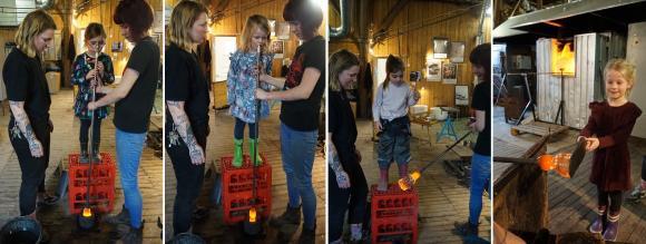 Glasblåsning på G för femåringarna Alicia, Molly, Molly och Klara som tillsammans med sina jämnåriga kamrater på Artisten i Brunna besökte Glasbolaget nu i mars.