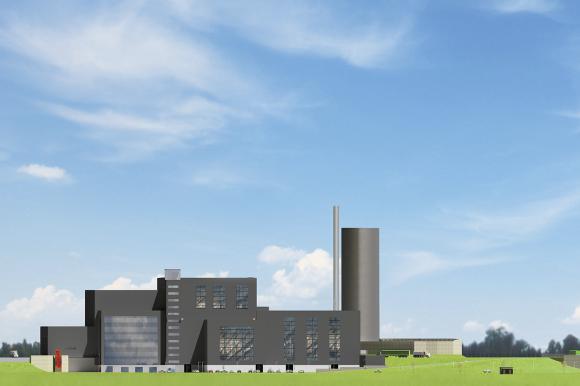 <span>Vid Högbytorp bygger E.ON två anläggningar: en kraftvärmeanläggning och en biogasanläggning. Båda ligger i direkt anslutning till Ragn-Sells sedan länge etablerade återvinnings- och behandlingsanläggning på området. <br />(Illustration: E.ON)</span>