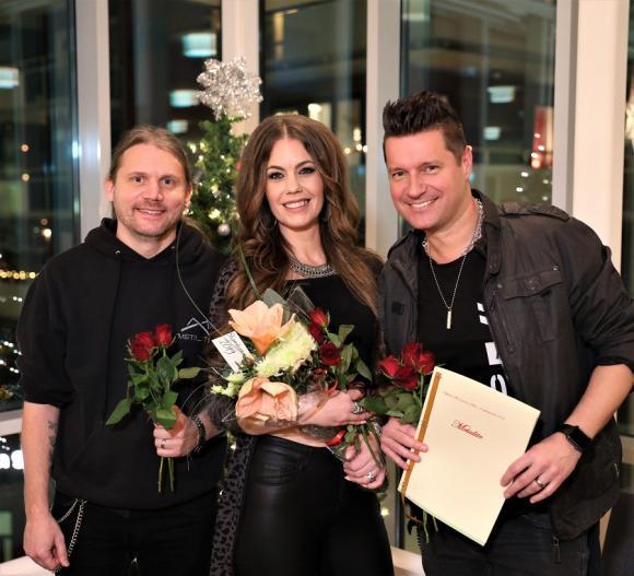Robert Örnesved, Erica Ohlsson och Edwin Premberg i bandet Metalite. Saknades vid stipendieutdelningen gjorde Lea Larsson samt Robert Majd.