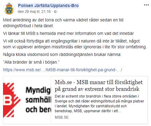 Skärmdump från Polisen i Järfälla / Upplands-Bros FB.