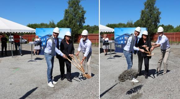 Ett och två och tre - gräv! Byggprojektet Brf Brandstationen är officiellt igånggrävt.