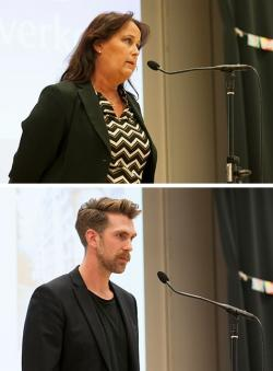 &Ouml;vre bilden: Camilla Janson, kommunalråd i Upplands-Bro.<br />Nedre bilden: Alexander Starfelt, Migrationsverket.