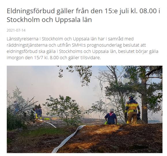 Skärmdump från brandkåren Attundas hemsida 14/7-21.