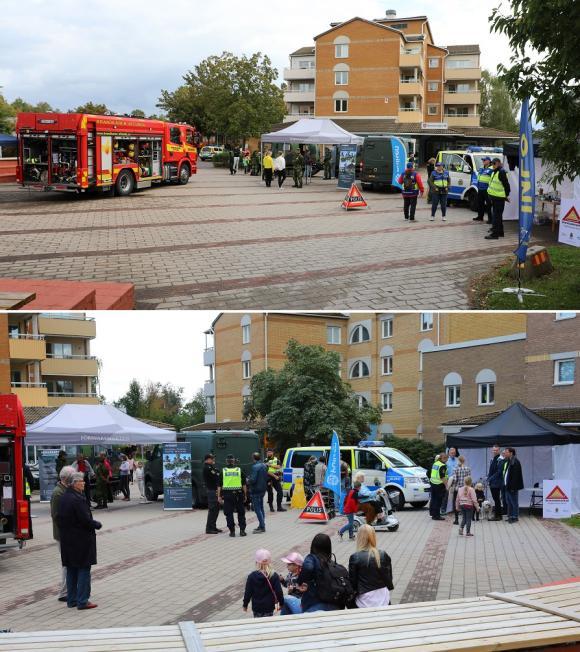 På Trygghetstorget var Polis, Räddningstjänst, Livgardet, FRG och Grannstödsförarna samlade.