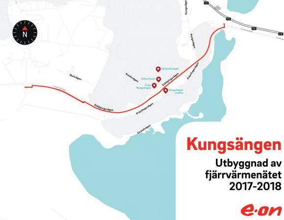 Karta över fjärrvärmeledningens dragning genom Kungsängen.