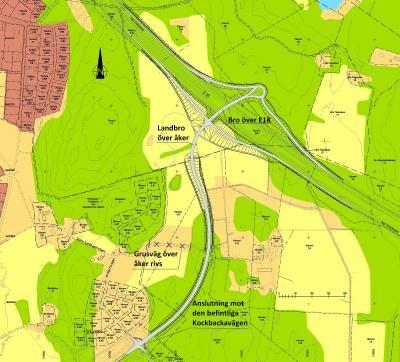 Trafikverkets kartbild över Kockbackaområdet och bygget av på- och avfarten.