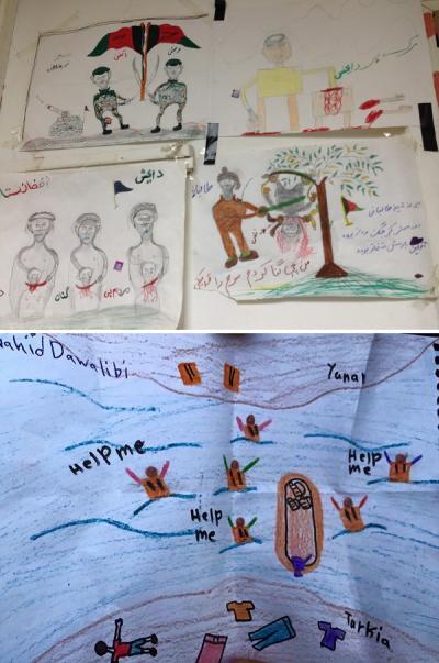 Några av de teckningar som barnen producerat.
