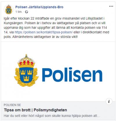 Skärmdump från Polisen i Järfälla och Upplands-Bro's FaceBooksida.