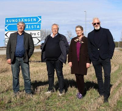 Martin Normark (L), Janne Stefanson (KD), Lisa Edwards (C) och Fredrik Kjos (M).
