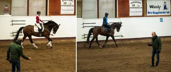 Pether instruerar och föreläser inför ett fullsatt ridhus. Till vänster är det Marie på hästen De Soto som får proffsinstruktioner. Till höger är det Sandra på Don Quitano.