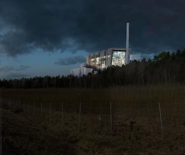 Förslag på utformning av det nya kraftvärmeverket, sett från E18.<br /><span style=\