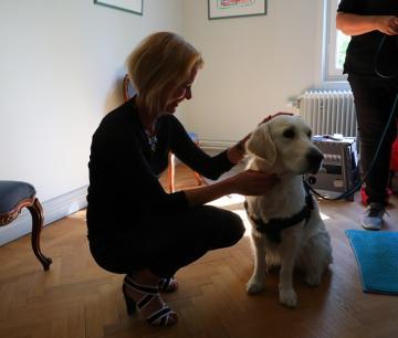 Besökshunden Nellie är en kär vän för många av besökarna på Daglig verksamhet.