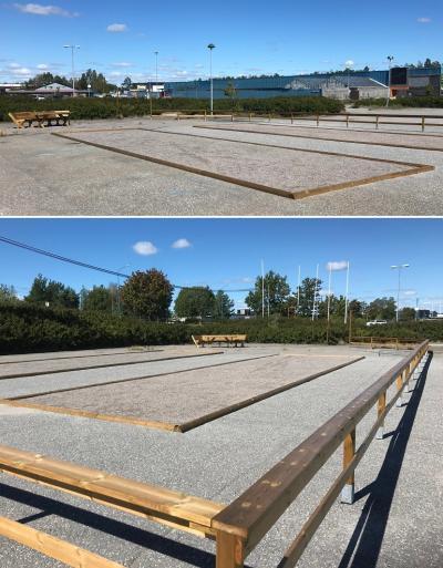 Två parallella boulebanor har anlagts på gamla Coop-parkeringen i Brunna. För den som inte har egen utrustning att spela med ska det finnas möjlighet att låna.