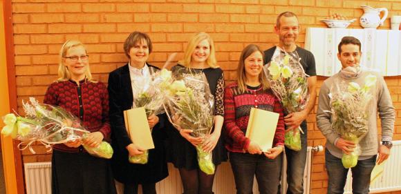 Från vänster: Leena Maija Nee, Kerstin Molander, Kristin Palmberg, Karina och Thomas Karlsson ochPoja Shad.