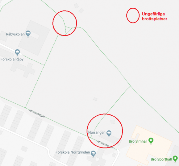 Kartbilden är hämtad på Google maps och ringarna markerar brottsplatserna (och är ungefärliga).