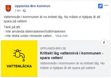 Skärmdump från kommunens FB-sida.