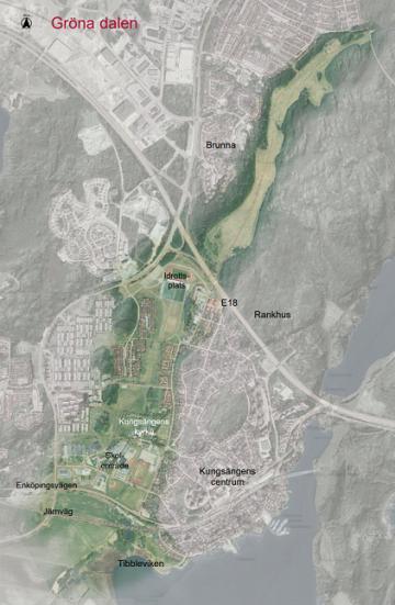 En ortokarta över Gröna dalen, hämtad ur kommunens dokument \