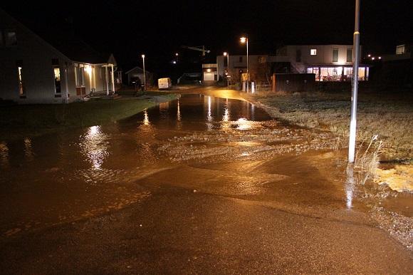Bilden togs i samband med vattenläckan i Bro, julaftons kväll 2013.