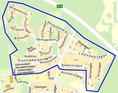 Området i norra Finnsta vars vattenledningsnät påverkas av renspolningen vecka 33.<br /><span style=\