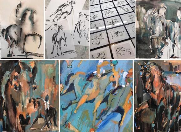 Annes hästar är ofta i rörelse, oavsett om hon målar i akvarell, akryl eller med kol.