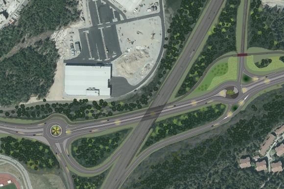 Översiktsbild över Granhammarsvägen så som den ska byggas ut.