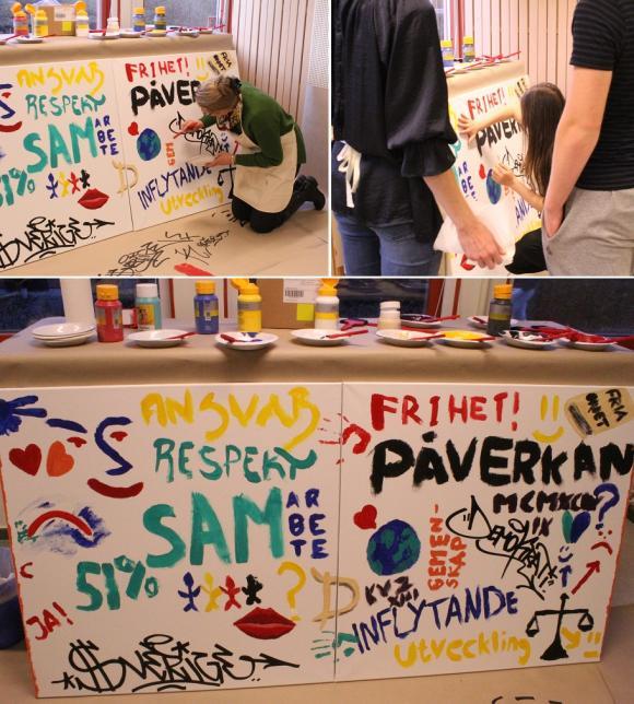 Under Demokratidagen den 15 december 2015 skapades ett gemensamt konstverk av deltagarna.