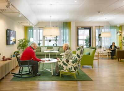 Bild från Humana.<br />De gemensamma vardagsrummen är centralt placerade på varje våningsplan så att alla boende lätt kan ta sig dit.
