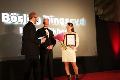 Malou Ekberg, Börjes i Tingsryd, vann priset Årets Nyetablering. Prisutdelare var Mattias Kranz, Företagarna.