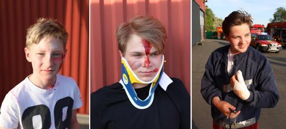 Markörerna Robin, Andreas och Elias.<br />Obs! Elias tumme var redan skadad när han kom till övningen!