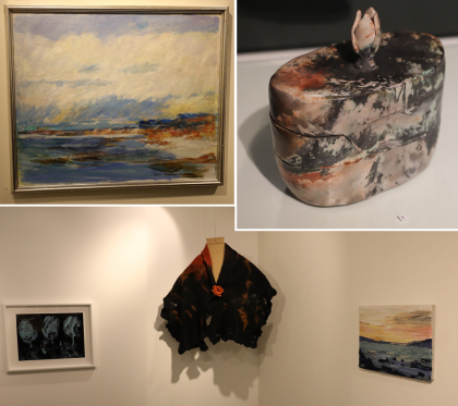 Några av konstverken som ställdes ut på Vårsalongen 2017.<br />&Ouml;vre raden: Rune &Ouml;sterdahl; Gotlandsstrand och Monica Arnoldsson, \