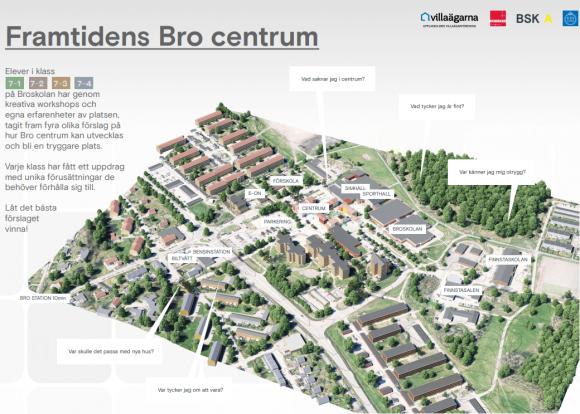 Så här såg uppdragsbilden ut när eleverna tog sig an projektet att skapa en framtidsvision över Bro centrum!