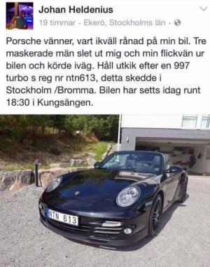 Skärmdump från FB. OBS - bilen sågs i Kungsängen under söndagen.