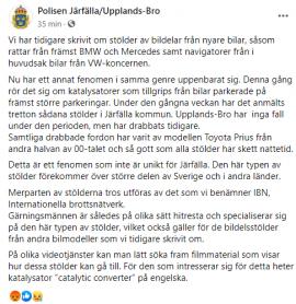 Saxat från Polisen i Järfälla / Upplands-Bros FaceBooksida idag, den 16/9-20.