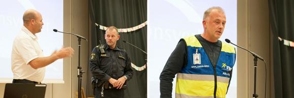 Till vänster: Tomas Wrådhe, Brandkåren Attunda och Magnus Nilsson, kommunpolis i Upplands-Bro.<br />Till höger: Danne Carlsson, en av de ansvariga för FRG i Upplands-Bro.