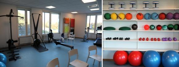 Det finns ett större gym där de boende kan träna tillsammans och i grupp.