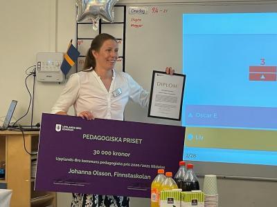 Årets vinnare av pedagogiska priset - Johanna Olsson, Finnstaskolan. Foto: Upplands-Bro kommun