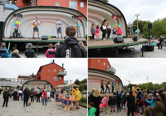 Gamla Häggvikarna sjöng och spelade på Fest i Byn. De hjälpte även till vid godisregnet. Årets konferencier, Anna Wilhelmsson, sjöng och ledde barnens allsång.