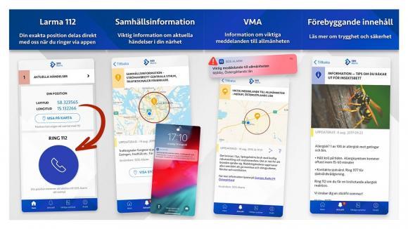 Med 112-appens hjälp kan SOS Alarm se din position. Du kan även få information vid olyckor, bränder med mera.