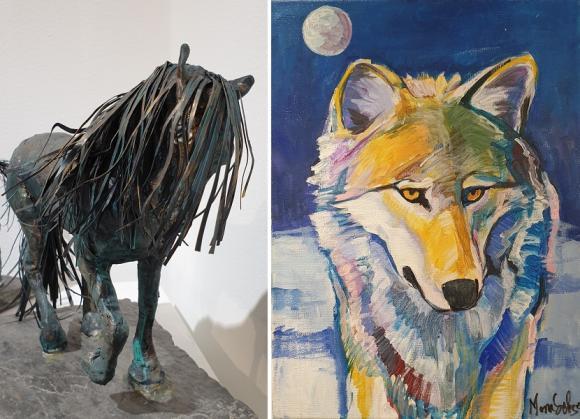 Mona Setzer skapar i papier maché, målar i akryl, tecknar med mera. Djur, särskilt hästar och vargar, är återkommande i hennes skapande.