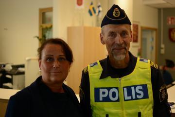 Kommunstyrelsens ordförande Camilla Janson och lokalpolischef Jörgen Karlsson.
