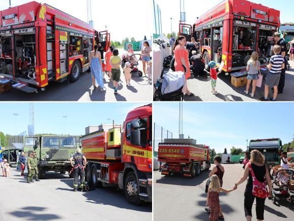 Brandmännen fanns på plats i början av dagen men fick larm om en markbrand ute på Ådö och fick snabbt samla ihop sina grejer och svida om till brandmansutrustningen. Blåljus och sirener på och sedan bar det av.