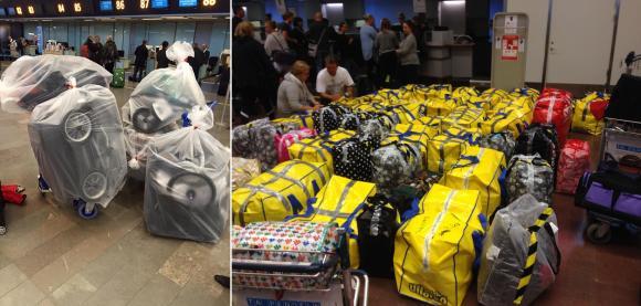 Packningen inför första resan i september 2015. 1,2 ton förnödenheter fick den 18 personer starka volontärgruppen med sig. Allt skänkt av privatpersoner och företag. Flygbolaget bjöd på bagageövervikten!