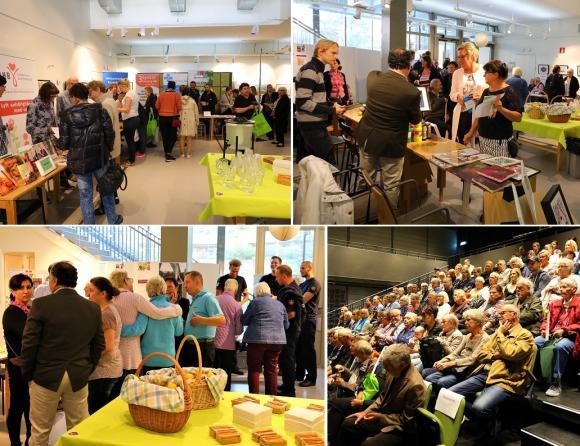 Många besökte Alzheimerdagen i Kulturhuset 2017. Där fanns ett digert smörgåsbord uppdukat av utställare, föreläsningar, filmvisning, en konstauktion och mycket mer.