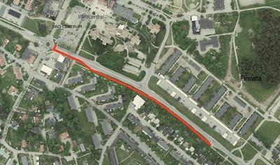 Sträckningen på den nya gång- och cykelvägen är rödmarkerad.