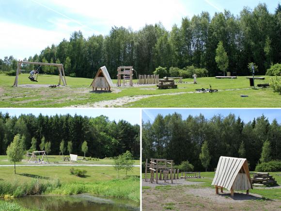 Svampparken ligger vid Råbydammen i anslutning till Råby Gärde, i Bro.