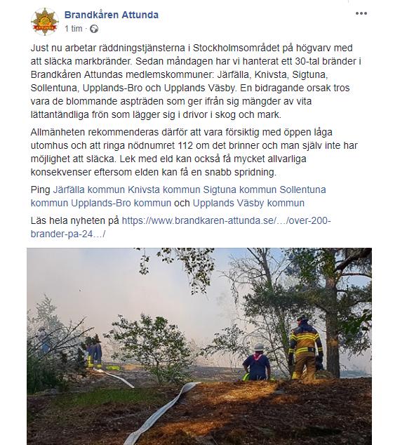 Klippt från Brandkåren Attundas FaceBooksidan den 22 maj 2019.