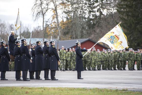 Högtidlig ceremoni på Livgardet när den nya regementeschefen tillträdde.